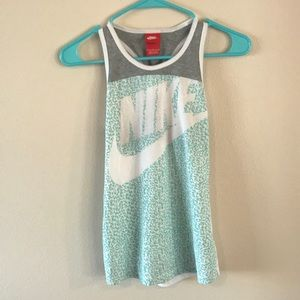 Nike blue and gray open back tank top